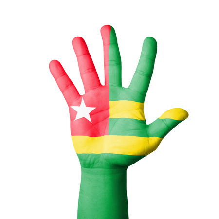 Open hand raised, Togo flag painted photo