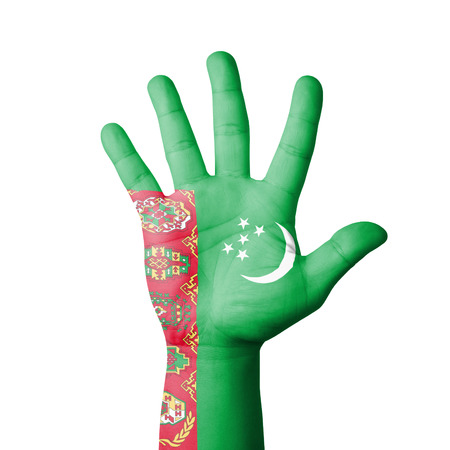 Open hand raised, Turkmenistan flag painted photo