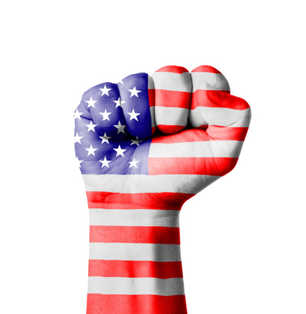 Fist of America (USA) flag painted photo