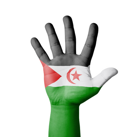 Open hand raised, Western Sahara flag painted photo