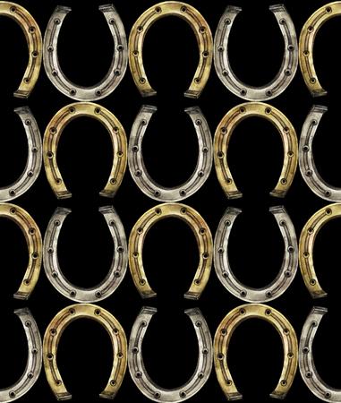 talism�n: Herraduras en colores oro y plata. Talisman para la buena suerte. Acuarela Modelo incons�til Foto de archivo