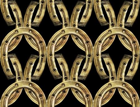 talisman: Herraduras en colores oro y plata. Talisman para la buena suerte. Acuarela Modelo incons�til Foto de archivo