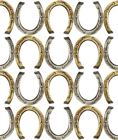 talismán: Herraduras en colores oro y plata. Talisman para la buena suerte. Acuarela Modelo inconsútil Foto de archivo