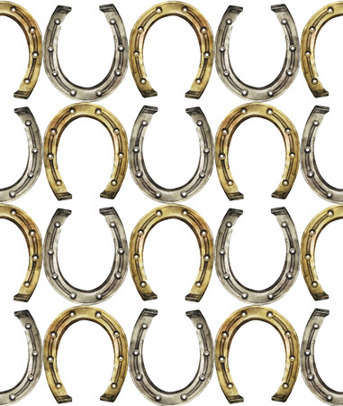 talisman: Horseshoes in golden and silver colors. Talisman for good luck. Watercolor seamless pattern