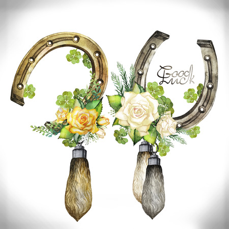 foots: Vintage watercolor design with horseshoes, rabbit foots,roses and clover isolated on white background Stock Photo