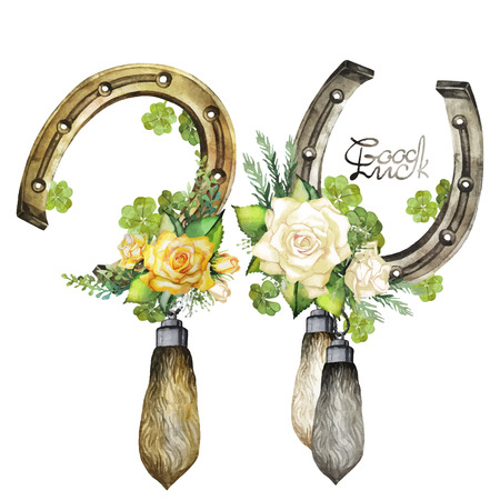 conjure: Vintage watercolor design with horseshoes, rabbit foots,roses and clover isolated on white background Illustration
