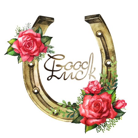 Horseshoes in golden color with red roses design. Talisman for good luck. Vector design element isolated on white background