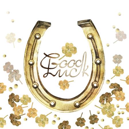 talisman: herraduras de acuarela en color dorado con diseño del trébol. Talismán para la buena suerte