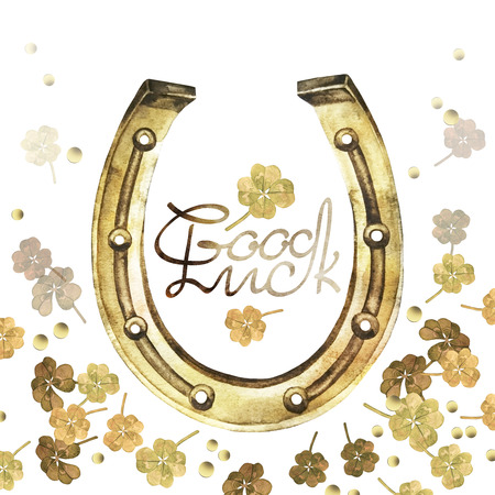 talism�n: Watercolor horseshoes in golden color with clover design. Talisman for good luck
