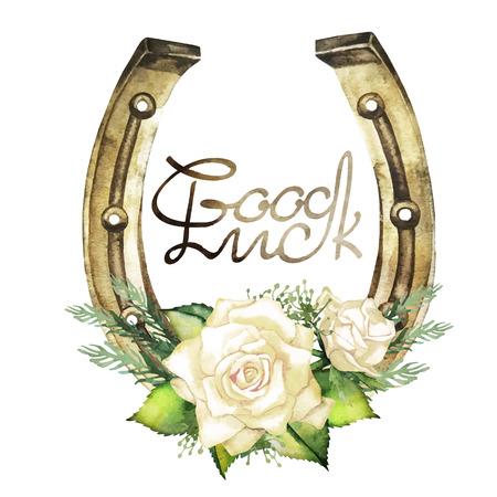 talisman: Herraduras en color dorado con diseño de rosas blancas. Talisman para la buena suerte. Elementos de diseño vectorial aislados en fondo blanco