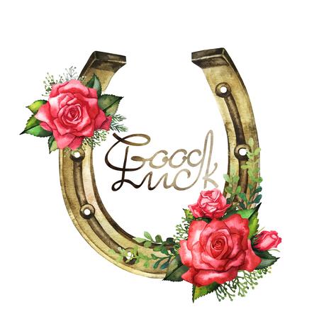 herradura: Herraduras en color dorado con diseño de rosas rojas. Talisman para la buena suerte aisladas sobre fondo blanco