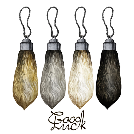 good luck charm: Watercolor rabbit foot on the rope. Talisman for good luck isolated on white background