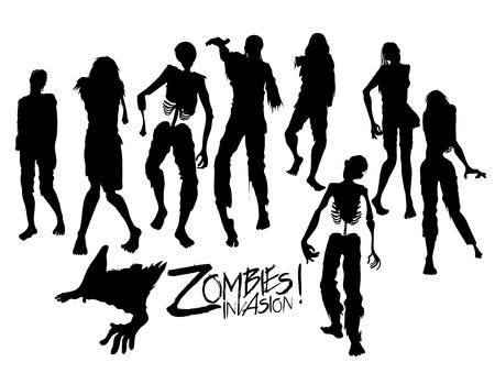 Zombie invasion. Zombie silhouettes walking forward. Halloween design elements isolated on white background Vetores