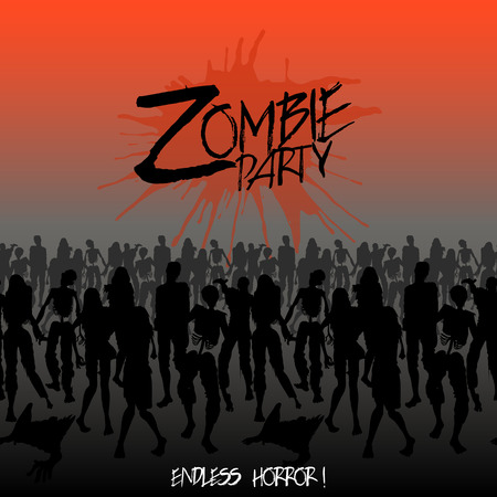horror: Zombie party. Zombie silhouettes crowd walking forward. Endless character line. Halloween design