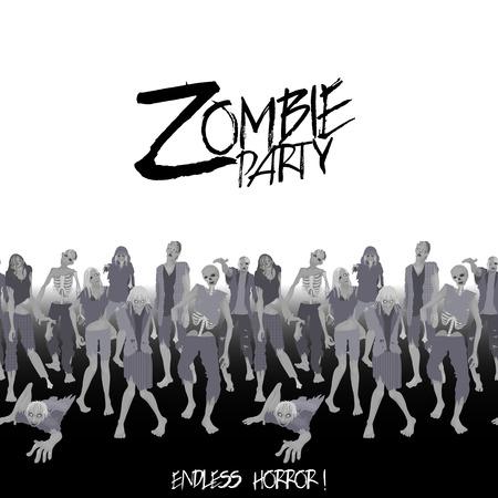 zombie cartoon: Zombie party. Zombie crowd walking forward. Halloween endless border Illustration