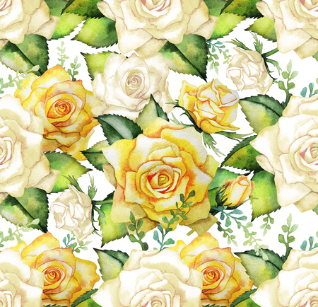 yellow art: Watercolor yellow roses. Seamless floral pattern. Wedding design Stock Photo