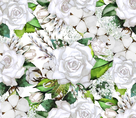 plant design: Watercolor white gentle roses. Vintage seamless pattern