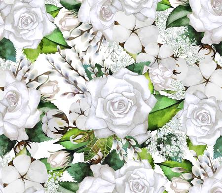 elegant design: Watercolor white gentle roses. Vintage seamless pattern