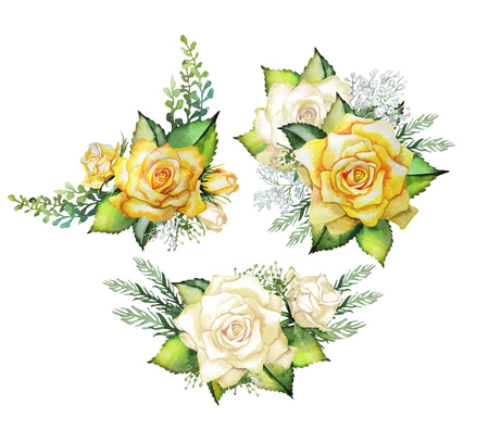 Watercolor yellow roses. Vignette collection. Wedding  design