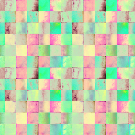 degrade: Abstract watercolor seamless pattern with gradient squares Stock Photo