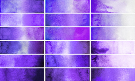 Violet watercolor gradient rectangles. Design elements isolated on white background. Easy to cut Stock Photo