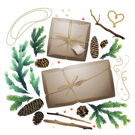 craft paper: Christmas gift package collection. Parcels of craft paper, pine tree  branches and cones isolated on white background