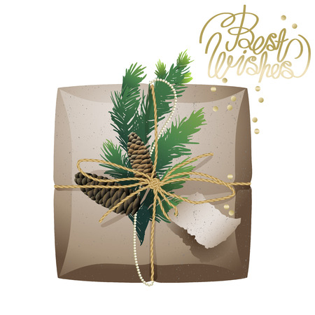 parcels: Christmas gift package collection. Parcels of craft paper, pine tree  branches and cones isolated on white background