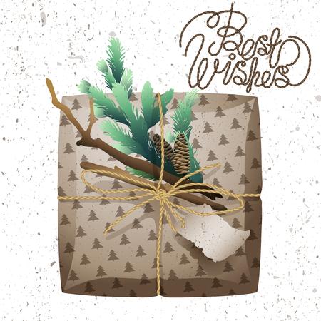 craft paper: Colecci�n de paquetes de regalo de Navidad. Paquetes de papel artesanal, ramas de los �rboles de pino y conos aislados sobre fondo blanco