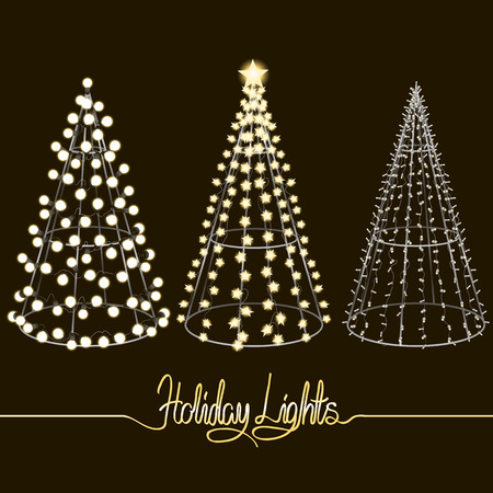 sculptures: Glowing Christmas trees. Sculptures made of small, large and star-shaped garlands over the metal frames. Vector holiday design