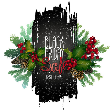 certificate design: Black friday sale.Black ink stain with  holly leaves and berries, coniferous branches and cones. Snowflakes in the foreground. Christmas vector design Illustration