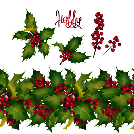 Christmas collection. Holly leaves and berries, endless border