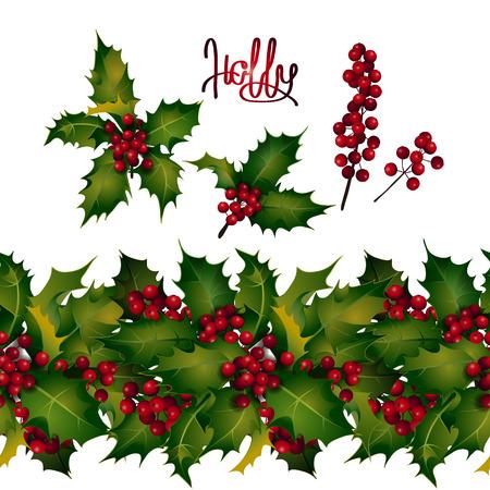 Weihnachtskollektion. Holly Blätter und Beeren, endlose Grenze Standard-Bild - 47648751
