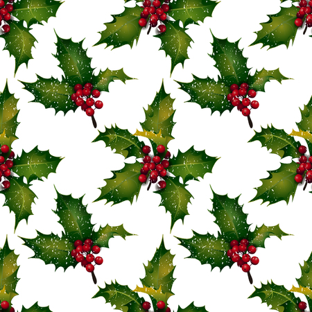 branches with leaves: Vector holly - seamless pattern with white background. Christmas design