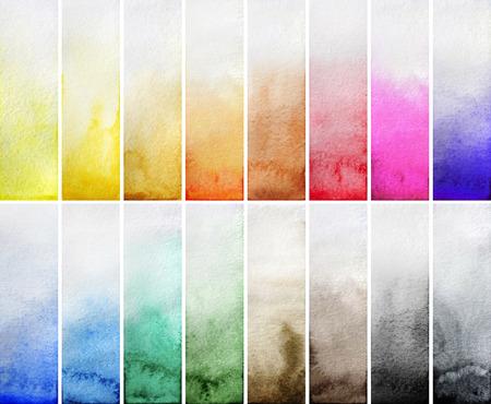 elementos: Rectángulos gradiente de la acuarela. Múltiples elementos de diseño de colores aislados sobre fondo blanco. Fácil de cortar