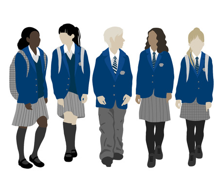 Back to school . Group of students. Boys and girls going to school  イラスト・ベクター素材
