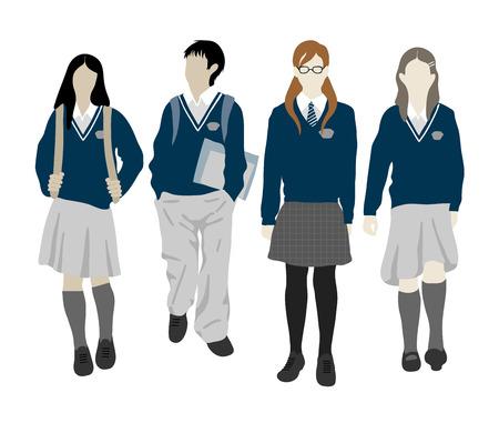 학교로 돌아가다 . 학생들의 그룹입니다. 학교에가는 소년과 소녀