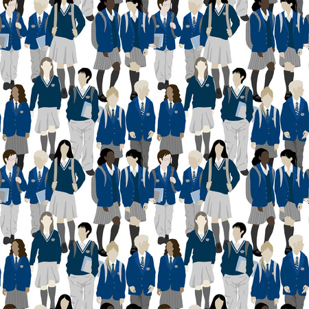 Groupe d'étudiants de l'école secondaire et élémentaire. Les garçons et les filles vont à l'école. Banque d'images - 48630234
