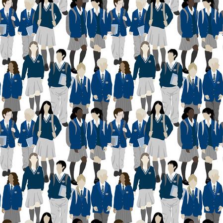 uniforme escolar: Grupo de estudiantes de secundaria y primaria. Los niños y las niñas van a la escuela. Vectores