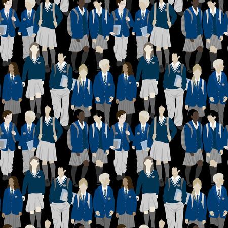 uniform: Grupo de estudiantes de secundaria y primaria. Los niños y las niñas van a la escuela. Vectores