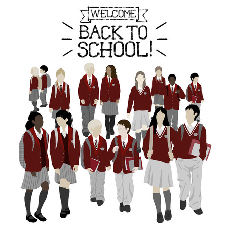 alto: Grupo de estudiantes de secundaria y primaria. Los niños y las niñas van a la escuela. Vectores