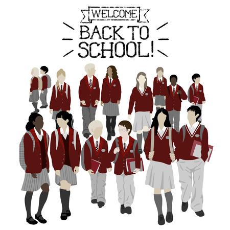Grupo de estudiantes de secundaria y primaria. Niños y niñas van a la escuela. Ilustración de vector
