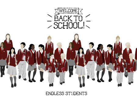 Groep studenten van de middelbare en lagere school. Jongens en meisjes gaan naar school. Naadloze grens. Stockfoto - 48630239
