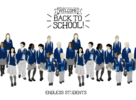 Group of students from high and elementary school. Boys and girls going to school. Seamless border. Фото со стока - 48630557
