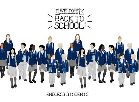Groupe d'élèves des écoles primaires et primaires. Les garçons et les filles vont à l'école. Frontière transparente.