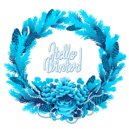 snowflacke: Winter frozen wreath. Holly leaves and berries, coniferous branches and cones in blue colors.