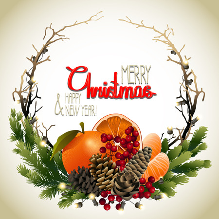 mandarins: Christmas fir wreath with mandarins, holly and dry branches. holiday design dry branches Illustration
