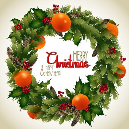 mandarins: Christmas fir wreath with mandarins and holly. holiday design Illustration