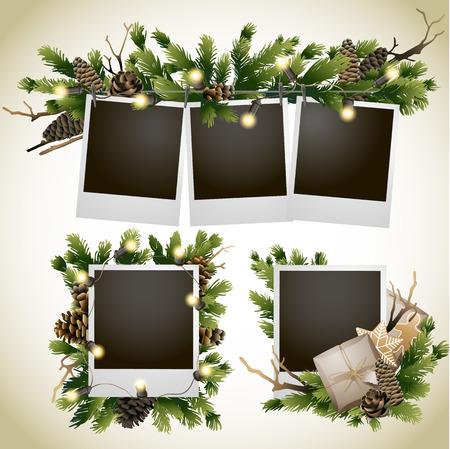 Kerstmis naaldhout ontwerp met gloeiende slinger. vakantiekaart Stock Illustratie