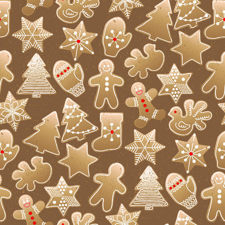 different shapes: Christmas design with gingerbread of different shapes. seamless pattern