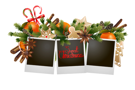 Kerstmis naaldhout ontwerp met snoep. vakantiekaart